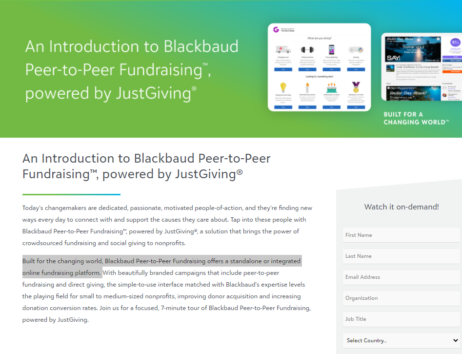 BB P2P powered by JustGiving product tour