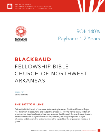 Fellowship Bible Church of Northwest Arkansas ROI Report