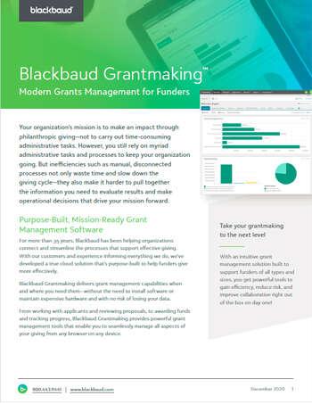 Blackbaud Grantmaking in SKY UI/UX datasheet