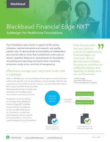 Image of datasheet Blackbaud Financial Edge NXT Subledger for Healthcare Foundations