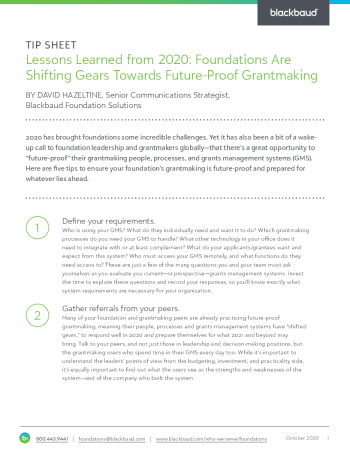 Lessons Learned in 2020 for Foundations