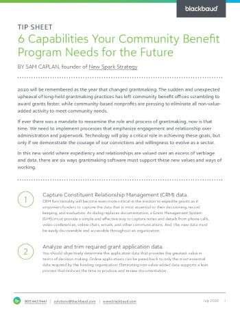 Image of tip sheet Six Capabilities Your Community Benefit Program Needs