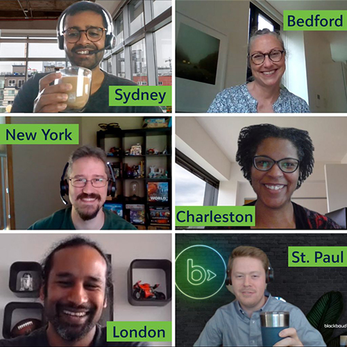 Blackbaud employees from around the world meet virtually for coffee